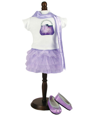 """Sophia's Lavender Tulle Skirt, Graphic Tee with Purse Design & Satin Scarf Fits 18"""" Dolls"""