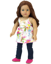"Ivory Print Ruffle Blouse & Denim Jeggings Doll Fits 18"" American Girl Dolls"