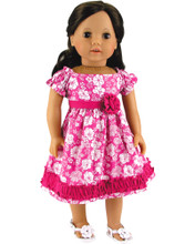 Pink Floral 18 Inch Doll Dress