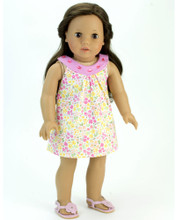 "Yellow Floral Dress For 18"" Dolls"