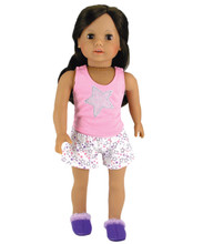 "Glitter Star Tank & Print Short Pajama Set Fits 18"" American Girl Dolls"