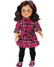 "Plaid Shirt Dress & Flower Headband Fits 18"" American Girl Dolls"