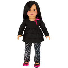 "Gray Animal Print Jeans & Black Long Sleeve Ruffle Tee Fits 18"" Dolls"