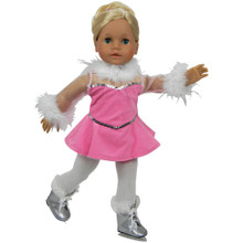 Sophia's Pink Velour Ice Skating Set For 18 Inch Dolls
