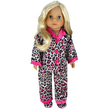 "Sophia's Animal Print Satin PJ's w/ Hot Pink Trim & Slippers Set Fits 18"" Dolls"