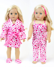 Heart Print Satin Pajama & Robe Set Fits 18 Inch Dolls