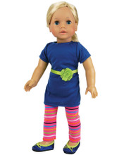 "Blue T-Shirt Dress & Pink Striped Leggings Fits 18"" American Girl Dolls"