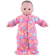 "15"" Fleece Print Baby Doll Sleeper Sack Fits 15 Inch Bitty Baby American Doll"