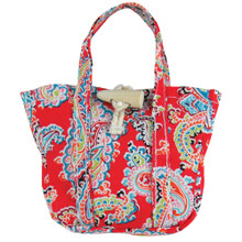 Red Paisley Print Tote Bag For 18 Inch Dolls