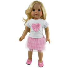 "Light Pink Tulle Skirt & White Heart Tee Outfit Fits 18"" American Girl Dolls"