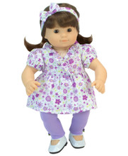 "Purple Floral Top & Leggings Set For 15"" Baby Dolls"