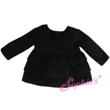"Black Long Sleeve Ruffle T 18"" Doll Separate Shirt Fits American Girl"