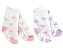 "Lavender Heart Print Socks Fits 18"" American Girl Dolls"
