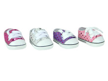 Sequin Sneakers Fits 18 Inch American Girl Doll Shoes