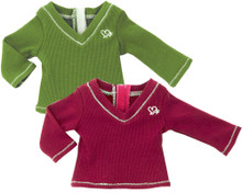 "Olive Ribbed Long Sleeve T-Shirt fits 18"" American Girl Dolls"
