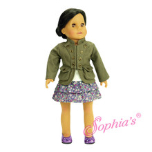 "Olive Military Jacket Fits 18"" American Girl Dolls"