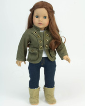 "Sophia's Olive Military Jacket Fits 18"" American Girl Dolls"