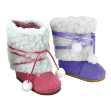 Sophia's Sherpa Tie Up Boots Fit 18 Inch Dolls