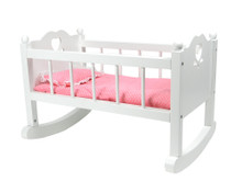 Hand-Painted White Doll Cradle