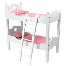 "Hand-Painted White Bunk Bed Set for 18"" American Girl Dolls"