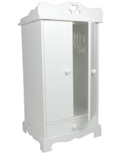 "White Hand-Painted Armoire for 18"" Dolls"