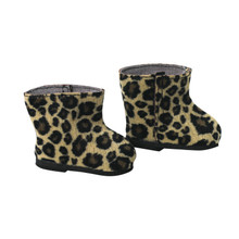 "Tan Animal Print Ankle Boots For 18"" Dolls"