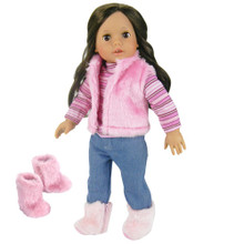 "4-Piece Set Pink Fur Vest, Striped Tee, Jeans, and Pink Furry Boots Fits 18"" Dolls"