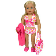 "6 PC 18"" Doll Beach Wear Set  fits American Girl 18 Inch Dolls"