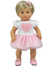Heart Dress w/Tutu Skirt fits 15 inch doll