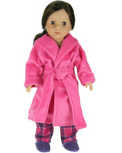 "Hot Pink Soft Robe Fits 18"" American Girl Dolls"