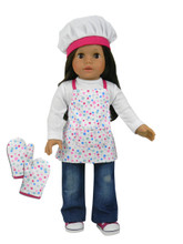 "Baking Apron, Mittens & Hat Set Fits 18"" American Girl Dolls"