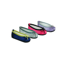 "Satin Ballet Flats with Contrasting Trim and Bow fits 18"" American Girl"