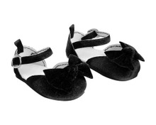 Black Velvet Ankle Strap Dress Shoe w/ Bow fits 18 inch American Doll