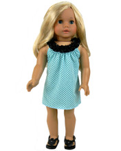 Seafoam Green Polka Dot Tank Dress fits 18 inch American Dolls  FINAL CLEARANCE