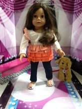 Peach Multi-Layer Ruffle Shirt & Jeggings  2 Piece Set for 18 inch Dolls