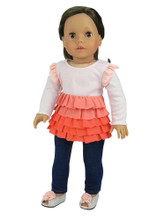 "Sophia's Peach & White Multi-Layer Ruffle Shirt and Jeggings For 18"" Dolls"