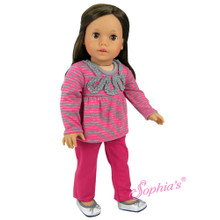 Hot Pink Denim Jeans & Striped T Fits 18 inch American Doll