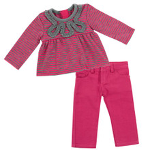 "Hot Pink Denim Jeans & Striped Tee Fits 18"" American Girl Dolls"