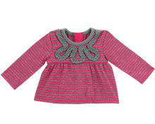 "Hot Pink & Gray Stripe Tee w/ Ruffle Design fits 18"" American Girl Dolls"