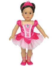 "3-Piece Fuchsia Classic Ballet Costume fits 18"" American Girl Dolls"