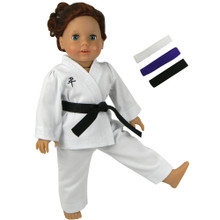 "Karate Uniform with 3 Belts fits 18"" American Girl Dolls"