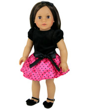 "Black Velvet and Polka Dot Satin Party Dress w/ Headband fits 18"" American Girl Dolls"