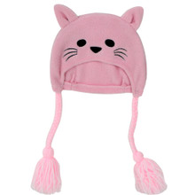 "Pink Fleece Kitty Hat for 18"" Dolls"