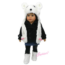 "White Polar Bear Hat w/ Hand Pockets fits 18"" Dolls"