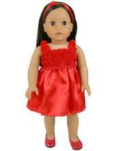 "Red Flower Holiday Dress & Headband fits 18"" American Girl Dolls"