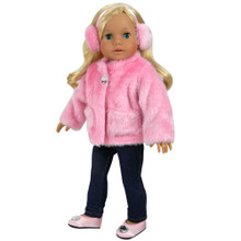 "Pink Fur Coat & Ear Muff Headband fits 18"" American Girl Dolls"