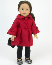 "Red 3/4 Sleeve Doll Dress Coat & Long Fur Trim Gloves fits 18"" American Girl Dolls"