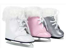 "Ice Skates w/ White Fur Trim Fit 18"" Dolls"