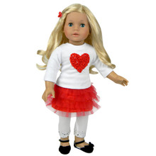 "Sophia's Red Tulle Skirt, Leggings & Heart Tee Set For 18"" Dolls"
