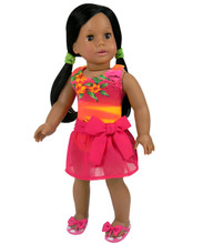 "Hawaiian Tank Bathing Suit & Sarong fits 18"" American Girl Dolls"